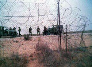 قوات حرس الحدود الاسرائيلية عند منطقة حدودية مخترقة