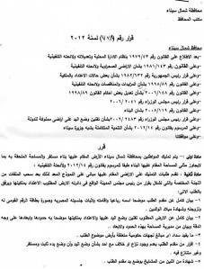 صورة قرار تمليك المنازل المرفوض فى سيناء