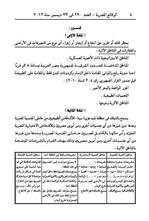 صورة قرار وزير الدفاع بشأن التمليك فى سيناء